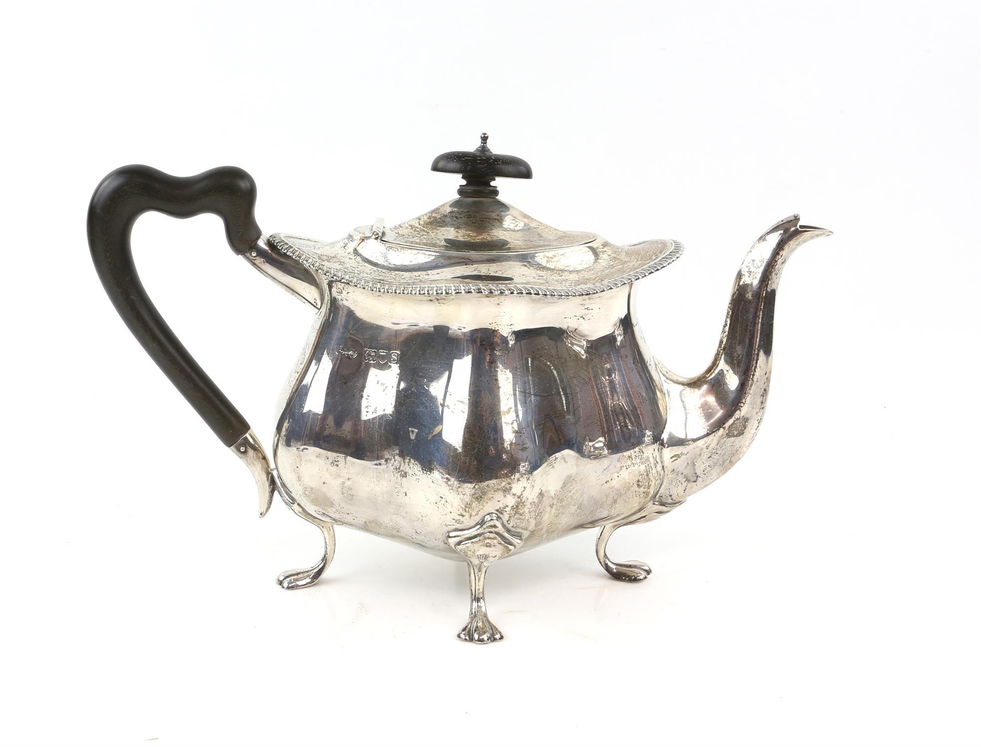 Four piece silver tea and coffee service of fluted diamond shape comprising Coffee Pot, Tea Pot, - Image 2 of 10