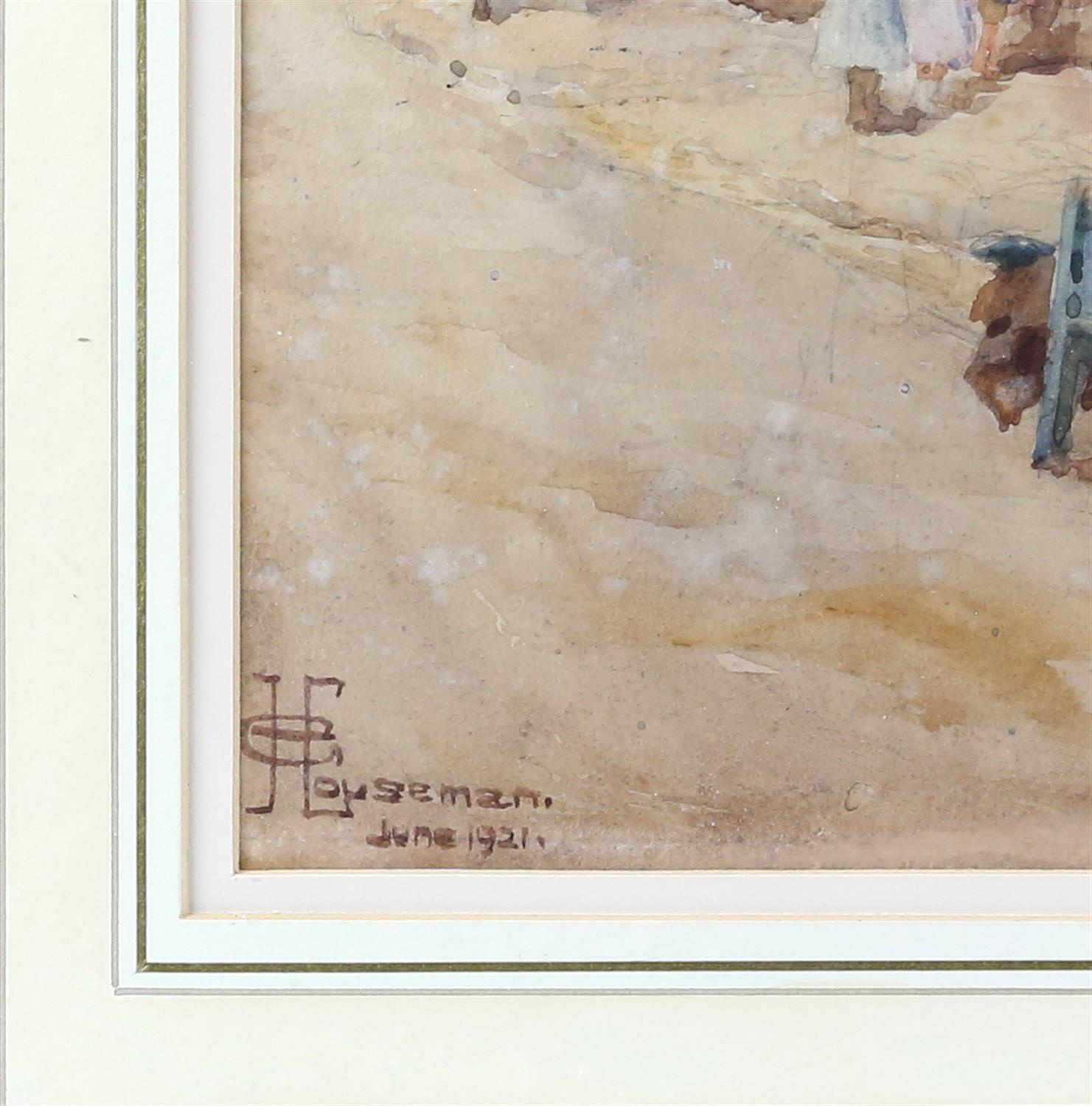 G. Houseman, 20th century, street scene with figures and barrow, signed and dated June 1921, - Image 3 of 4