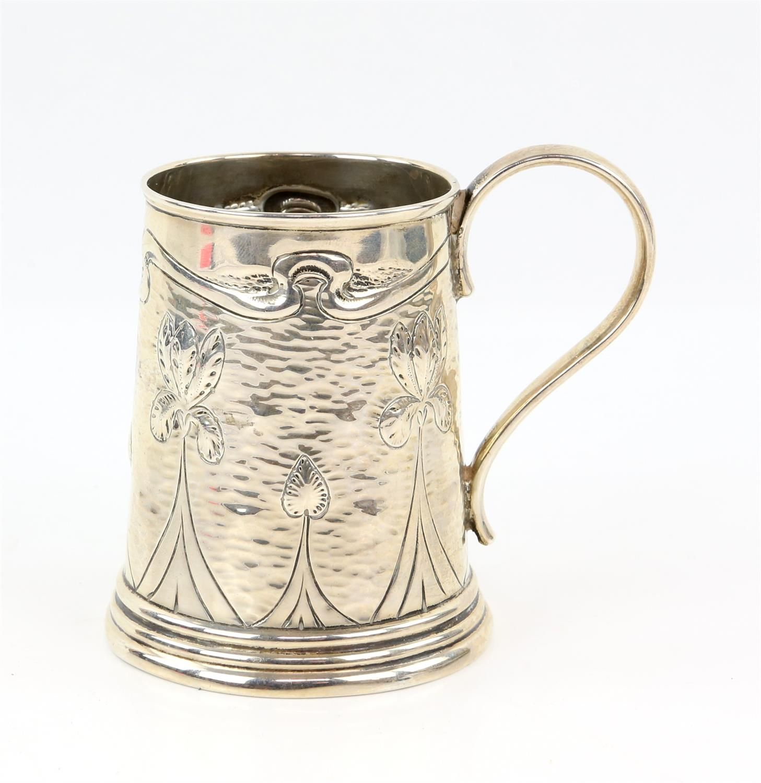 Arts and Crafts silver mug by A J Zimmerman, Birmingham 1901