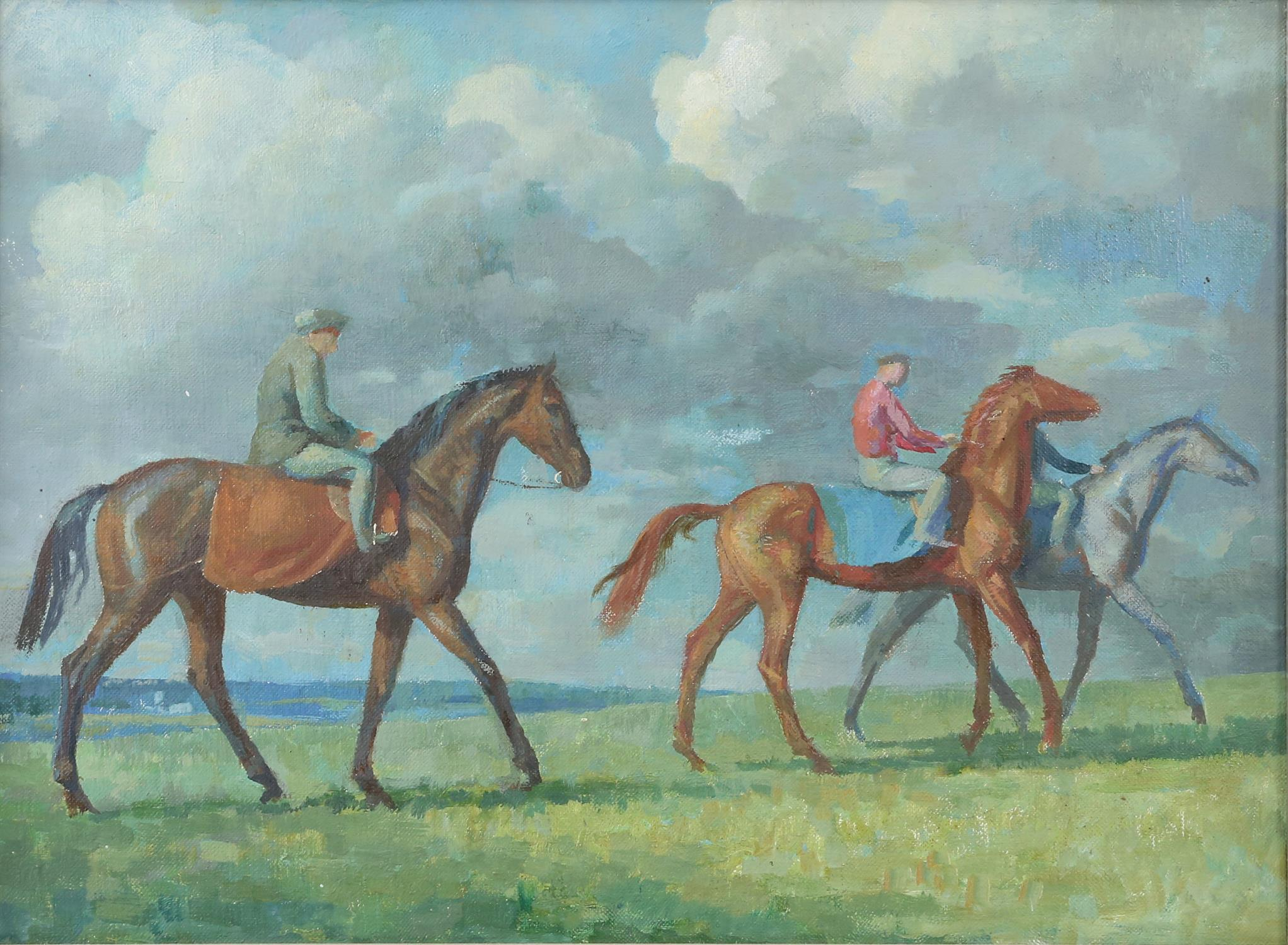 § Lionel Ellis (1903-1988) Riders in a landscape. Oil on canvas, unsigned. 38 x 48cm.