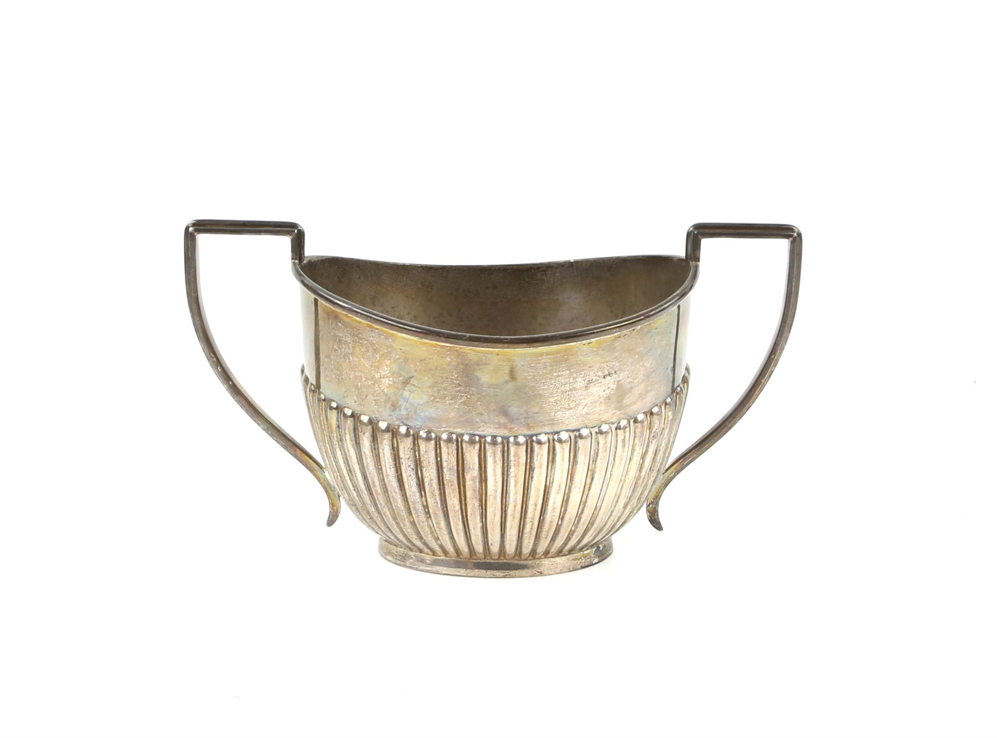 George V half reeded silver four piece tea and coffee service comprising teapot, coffee pot, - Image 4 of 9