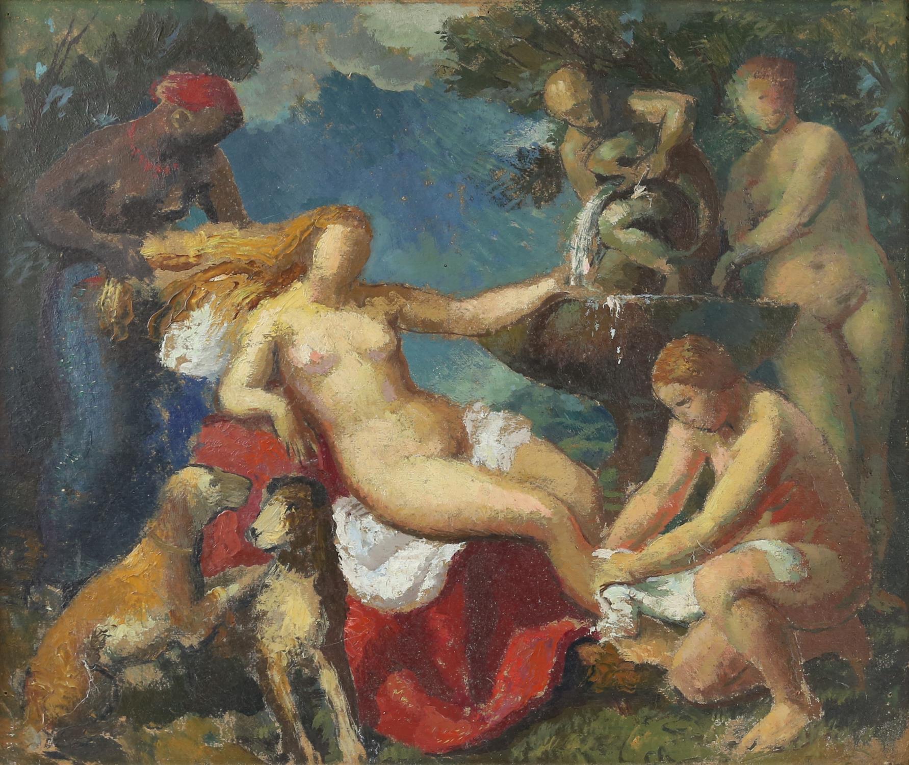 § Lionel Ellis (1903-1988), 'Diana's Bath'. Oil on board, unsigned, titled verso. 49 x 57cm.