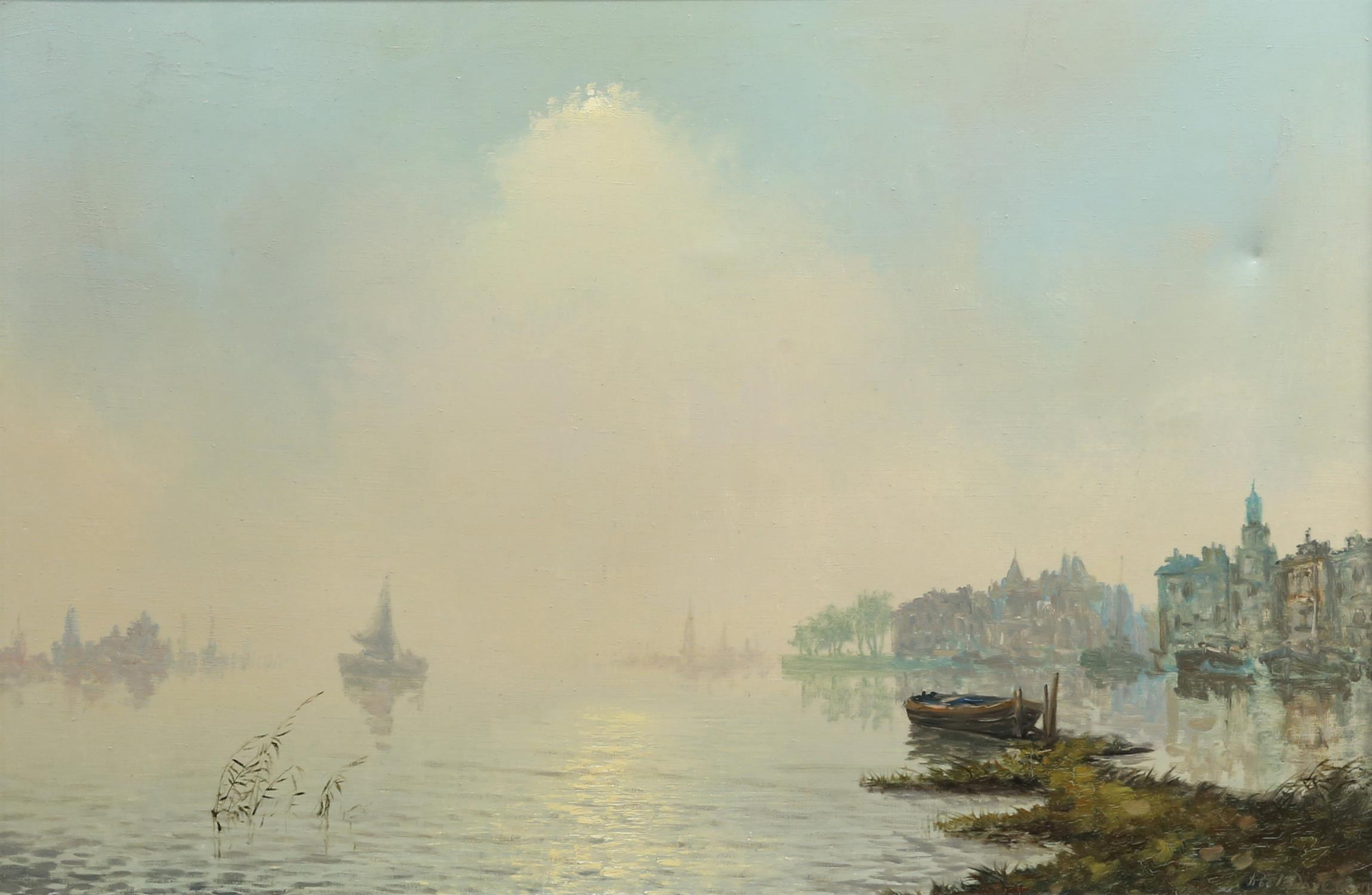Roel Dozeman (1924-1988). Continental Harbour Scene. Oil on canvas. Signed lower right. 76 x 103cm.