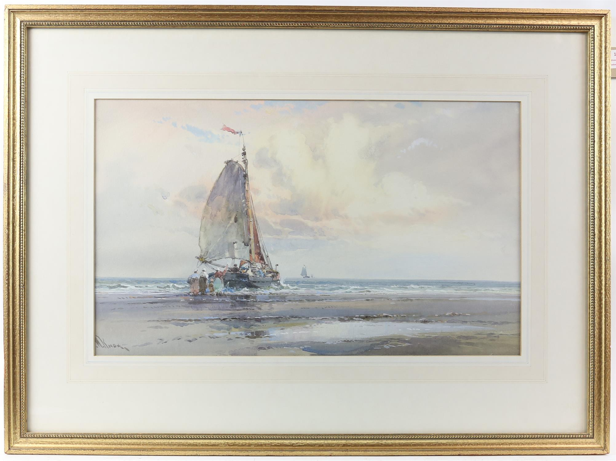 """Wilfred Knox (1884-1966) """"Off Venice"""" watercolour, signed, 29cm x 48cm, """"Dutch fishing boat at - Image 5 of 6"""