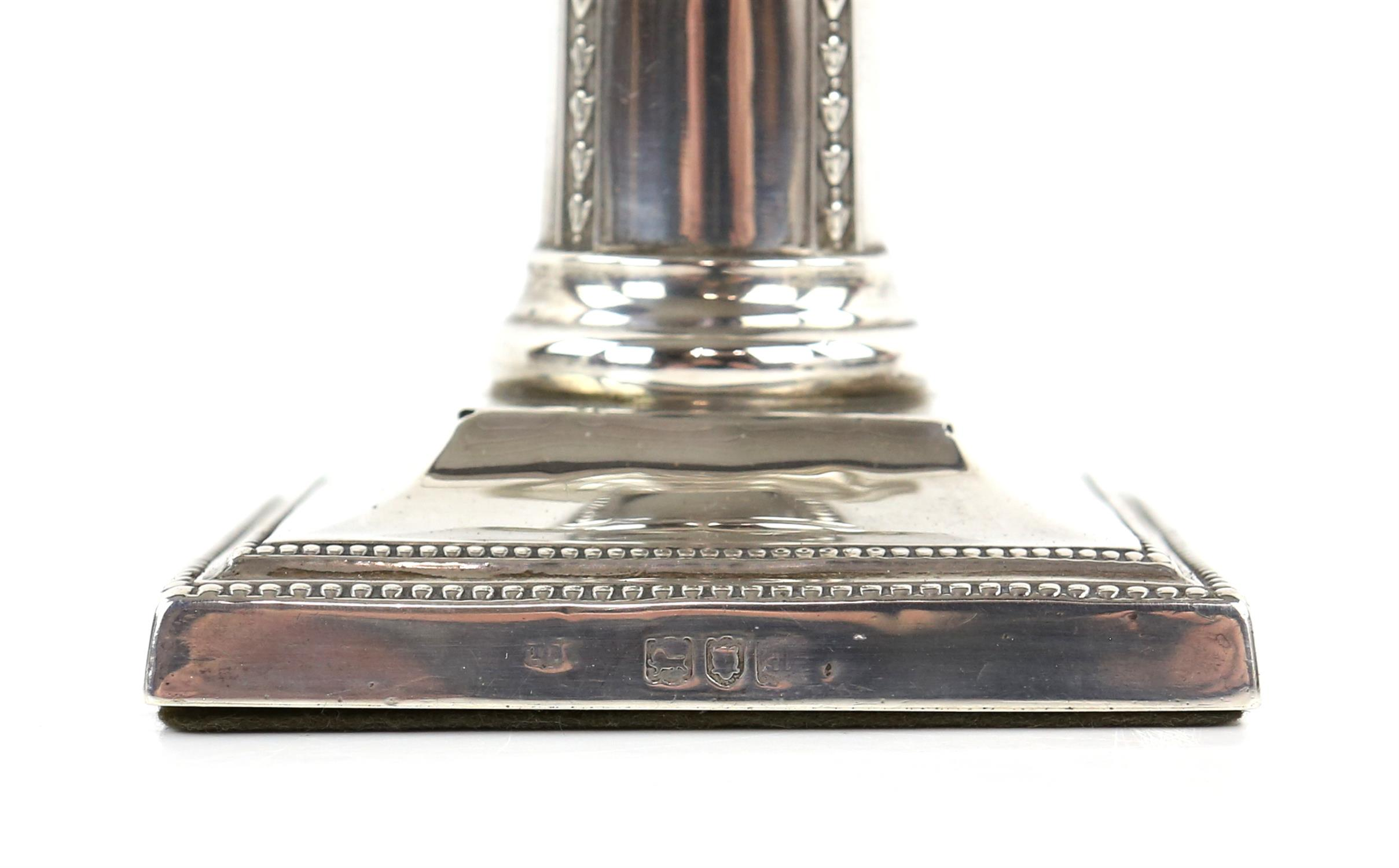 Pair of Victorian silver candlesticks with ribbon and swag decoration by Thomas Bradbury & Sons - Image 3 of 10