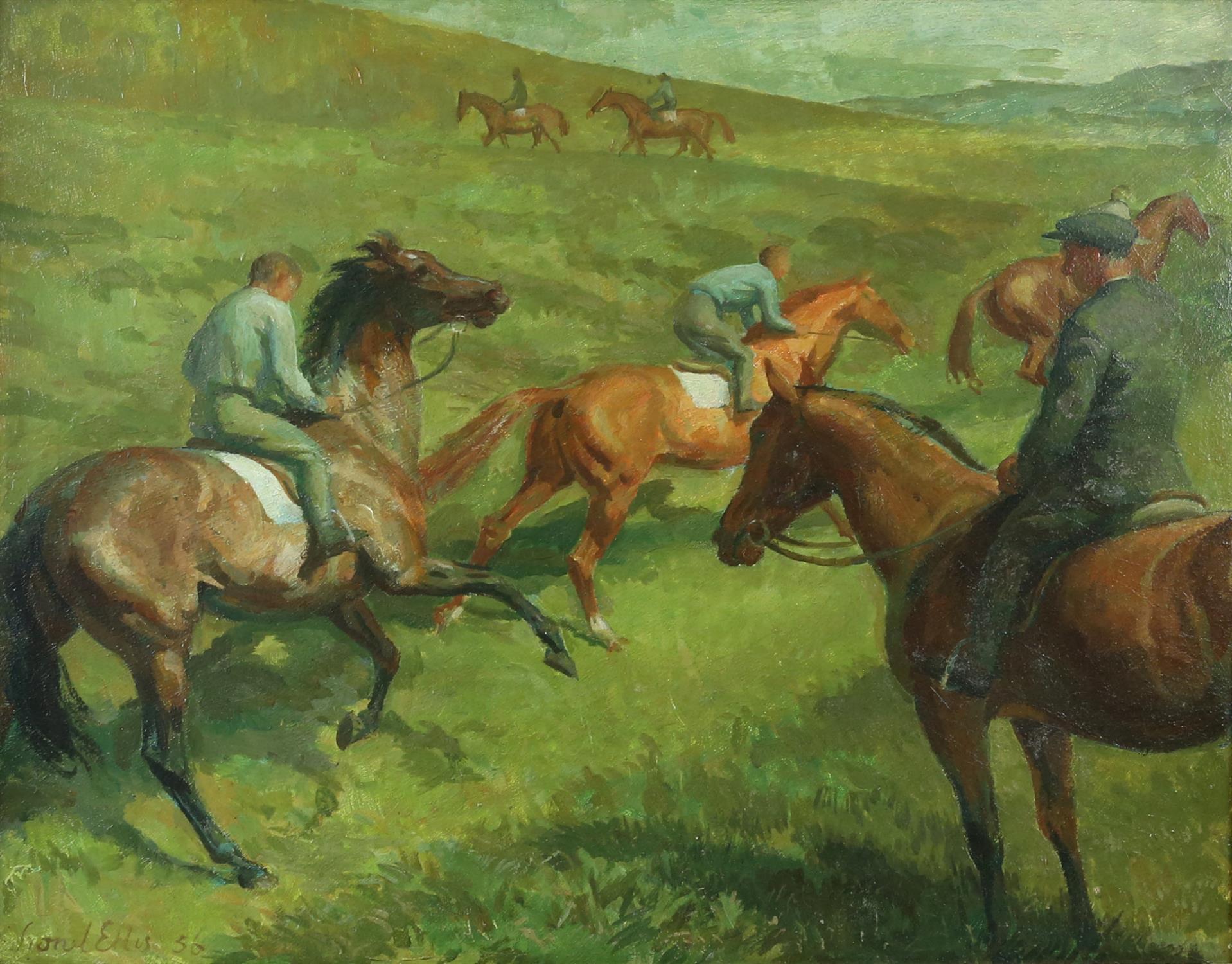 § Lionel Ellis (1903-1988) Horsemen on a hillside. Oil in board 1956, signed and dated lower left.
