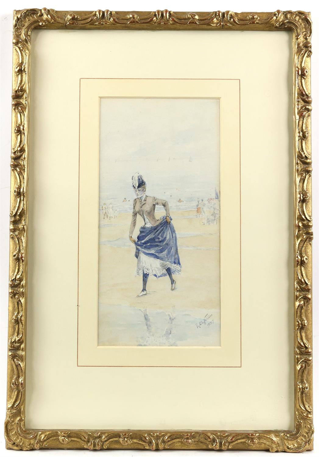 Raymond de la Neziere, French 1865-1953, lady in a long dress on a beach, signed and dated 1887, - Image 2 of 3