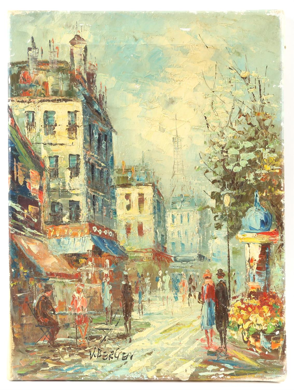 V. Bergen (20th century Continental school), pair of small Parisian street scene, oil on canvas, - Image 2 of 7