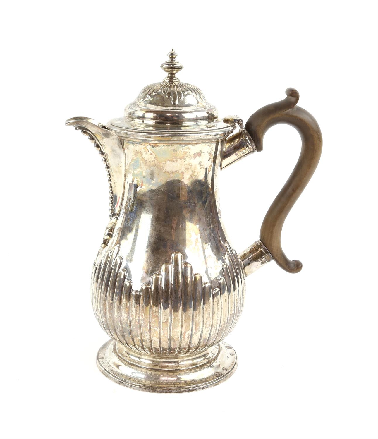 George III silver jug by John Emes, London 1798,half reeded decoration the cover with urn finial, - Image 2 of 4