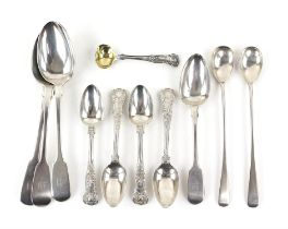 Three early 19th century fiddle pattern table spoons, similar dessert spoon, various dates and