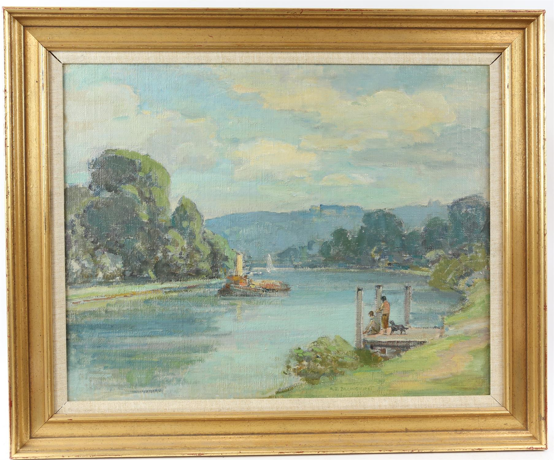 A J Billinghurst (British 1880-1963), river scene with steam barge and figures on a pontoon with a - Image 2 of 3