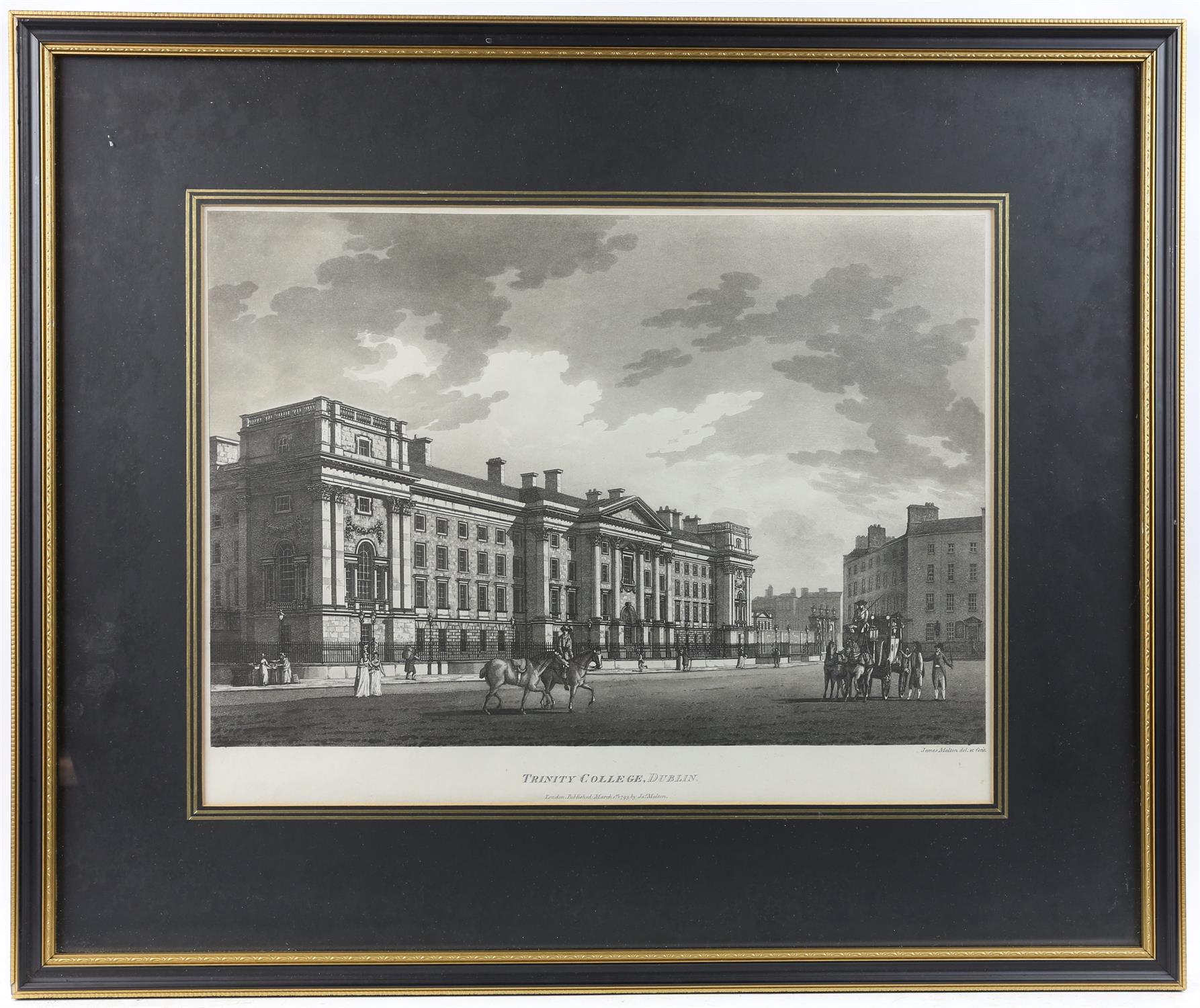 James Malton (c1766-1803). Trinity College, Dublin. Engraving. - Image 2 of 3