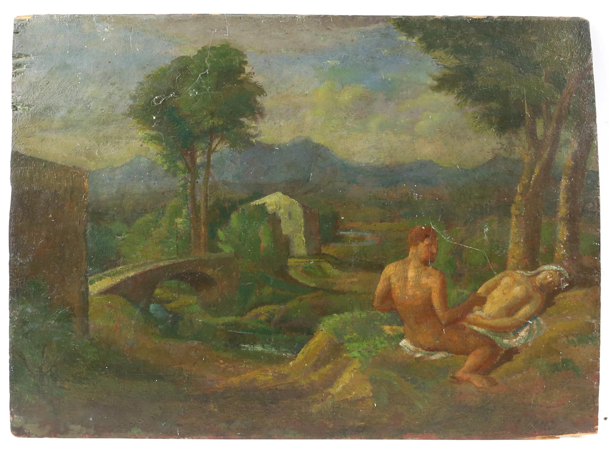 § Lionel Ellis (1903-1988),. Classical figures frolicking in a garden. Oil on board, unsigned. - Image 4 of 4