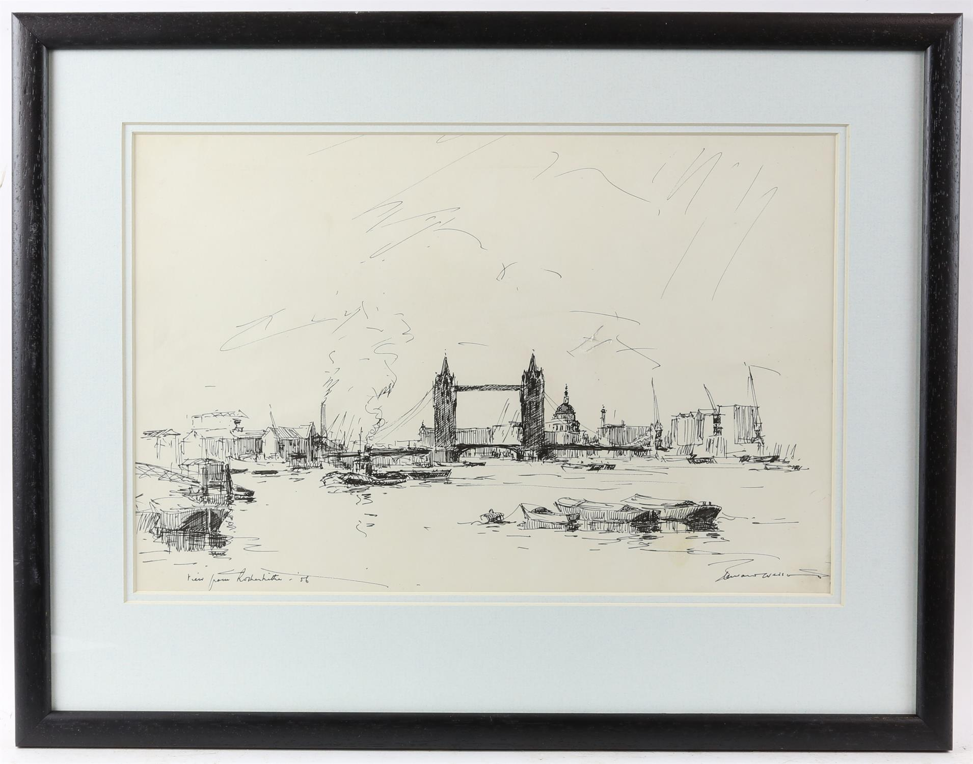 Edward Wesson (British 1910-1983), 'View from Rotherhithe', signed and dated '56, pen and ink, - Image 2 of 4