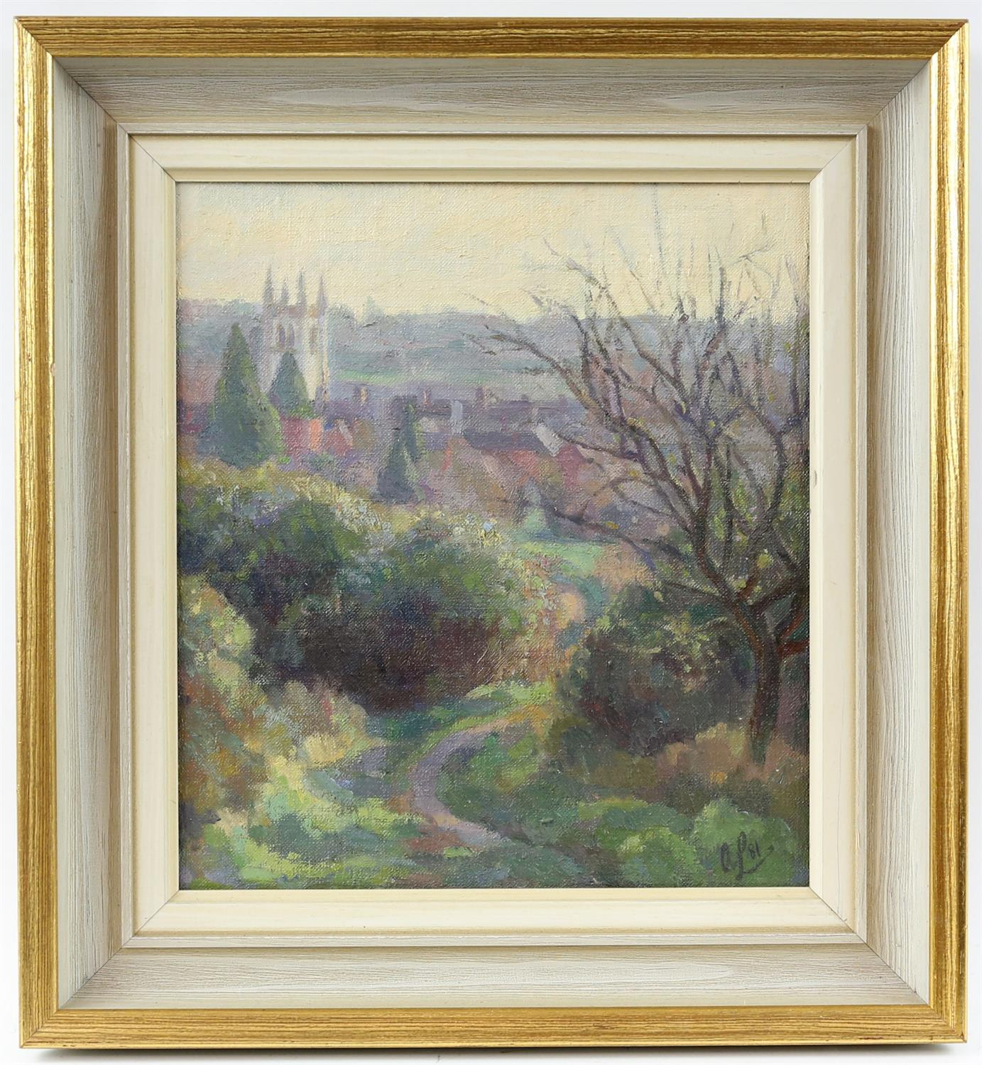 Alan Leishman (British contemporary),'Farnham from Above the Hart, Morning'. Oil on canvas. - Image 2 of 3