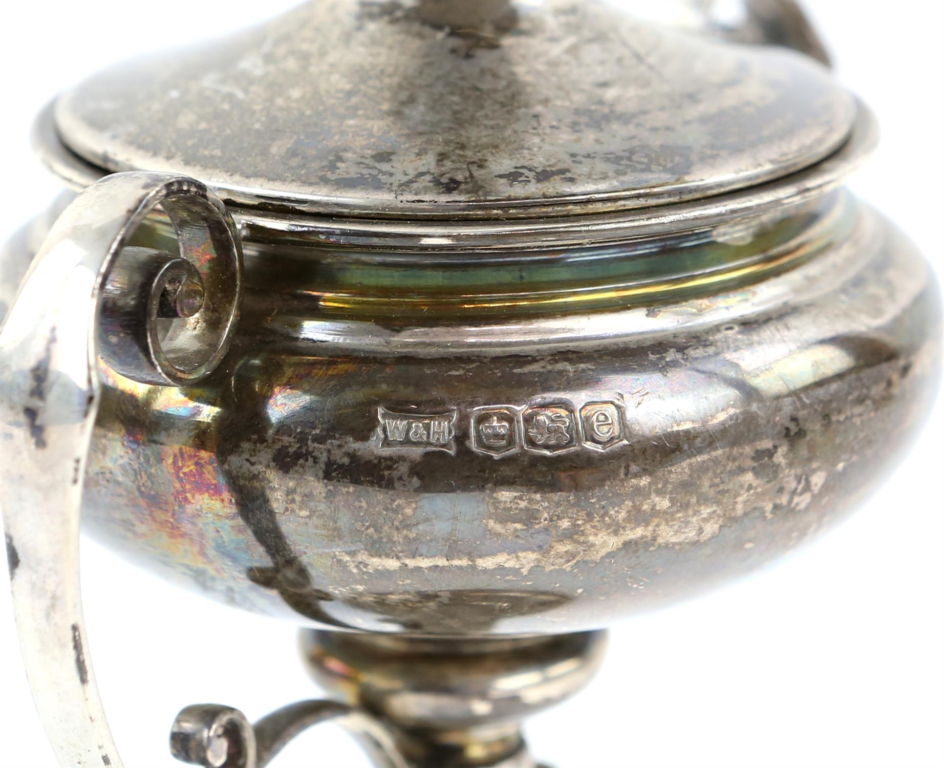 Victorian fern engraved silver mug, a silver sauce boat, a silver small trophy cup 403 grms 13 ozs - Image 5 of 10