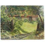 Rural landscape, oil on canvas. Image size 36 x 46cm.
