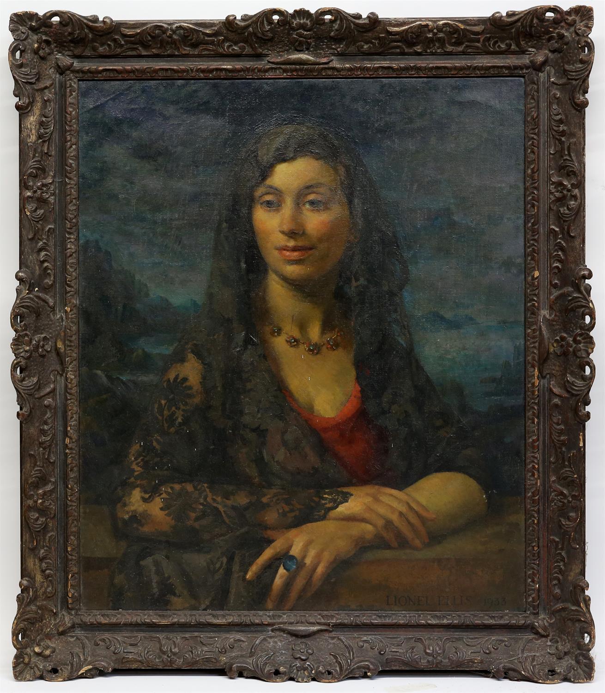 § Lionel Ellis (1903-1988),. 'Summer', Portrait of Woman with Lace Mantilla. Oil on canvas 1933, - Image 2 of 4