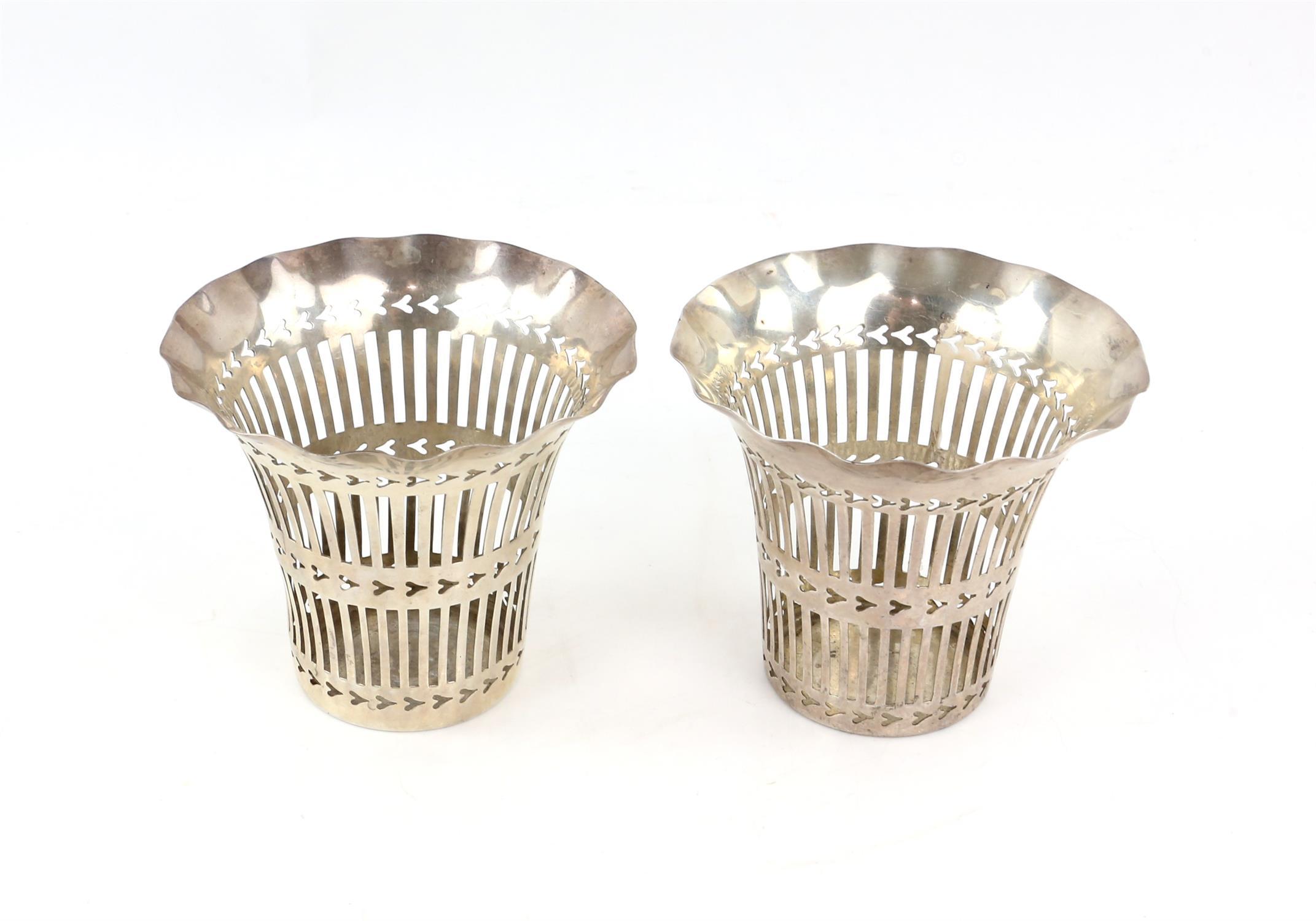 Edward VII pair of pierced silver vases by Cohen & Charles, Birmingham 1902-3, 9 cms high,