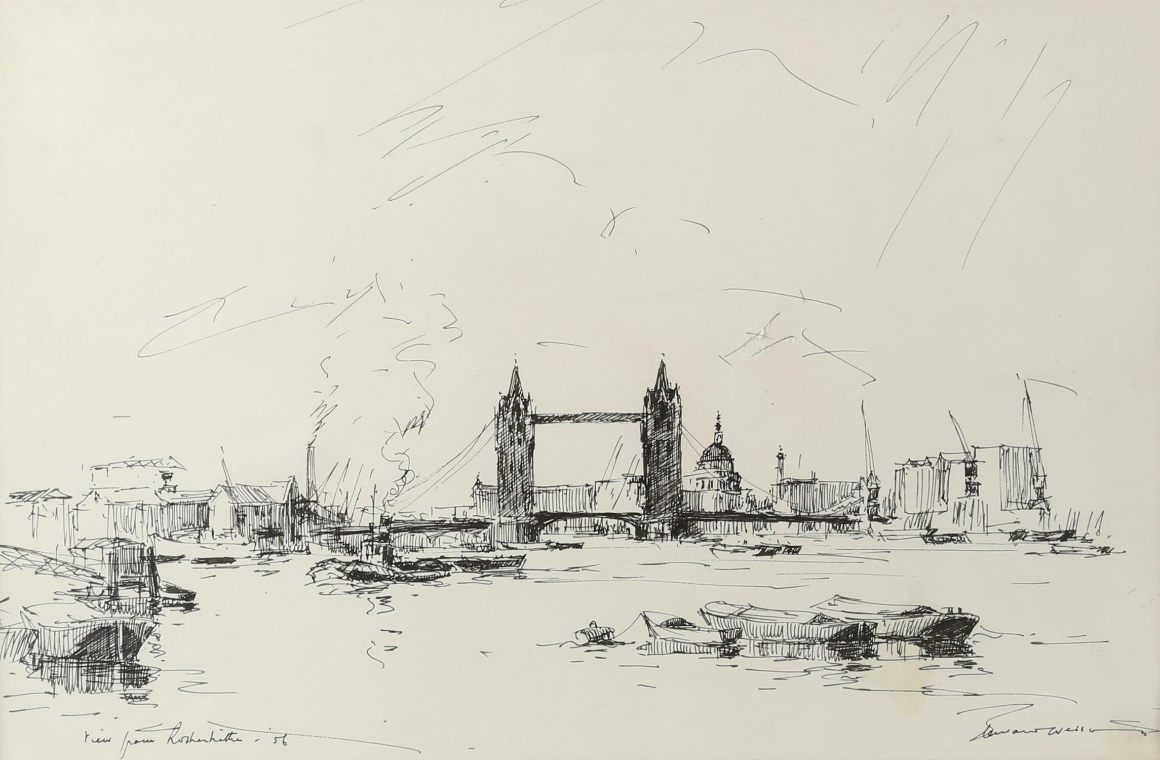 Edward Wesson (British 1910-1983), 'View from Rotherhithe', signed and dated '56, pen and ink,