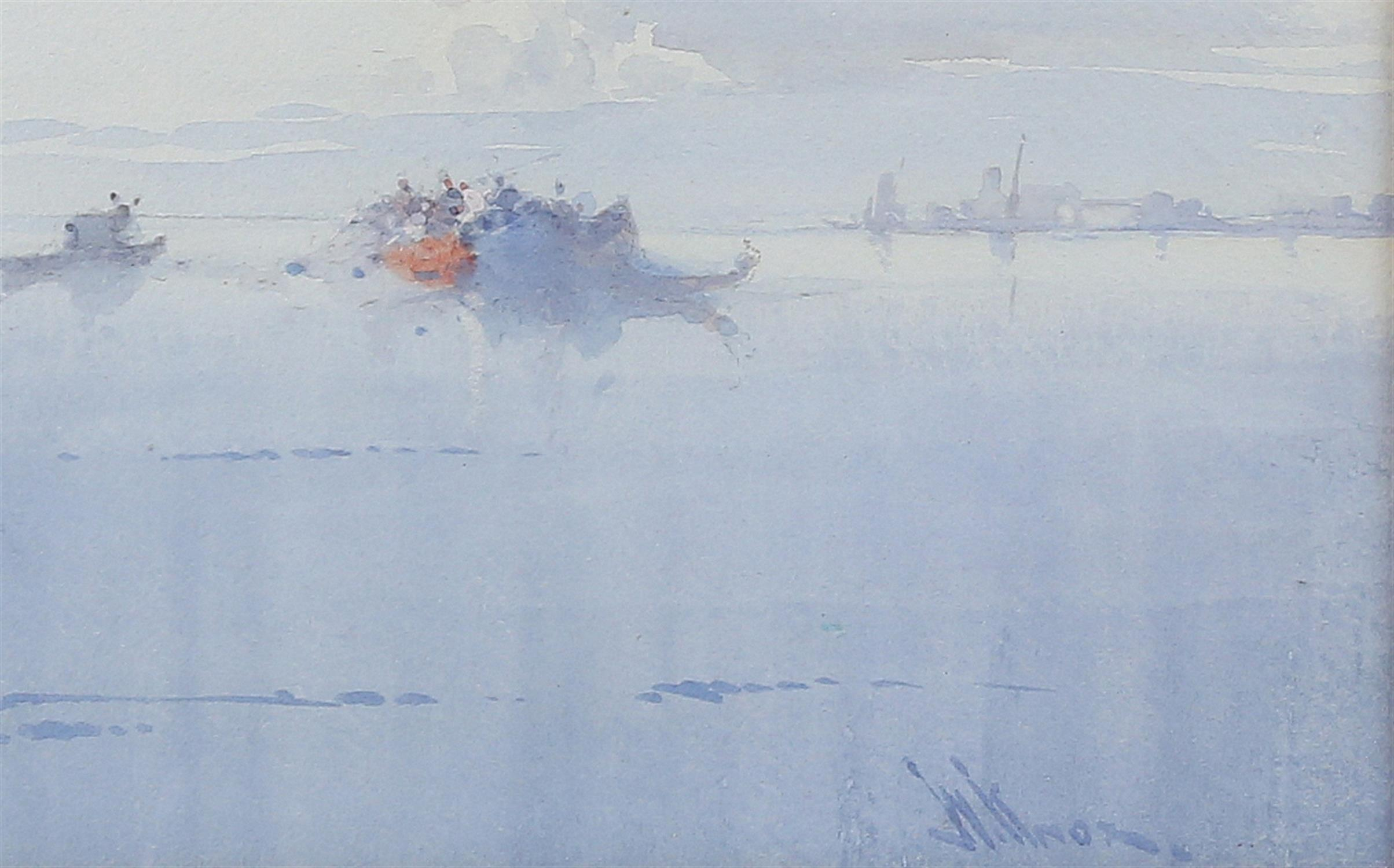 """Wilfred Knox (1884-1966) """"Off Venice"""" watercolour, signed, 29cm x 48cm, """"Dutch fishing boat at - Image 4 of 6"""