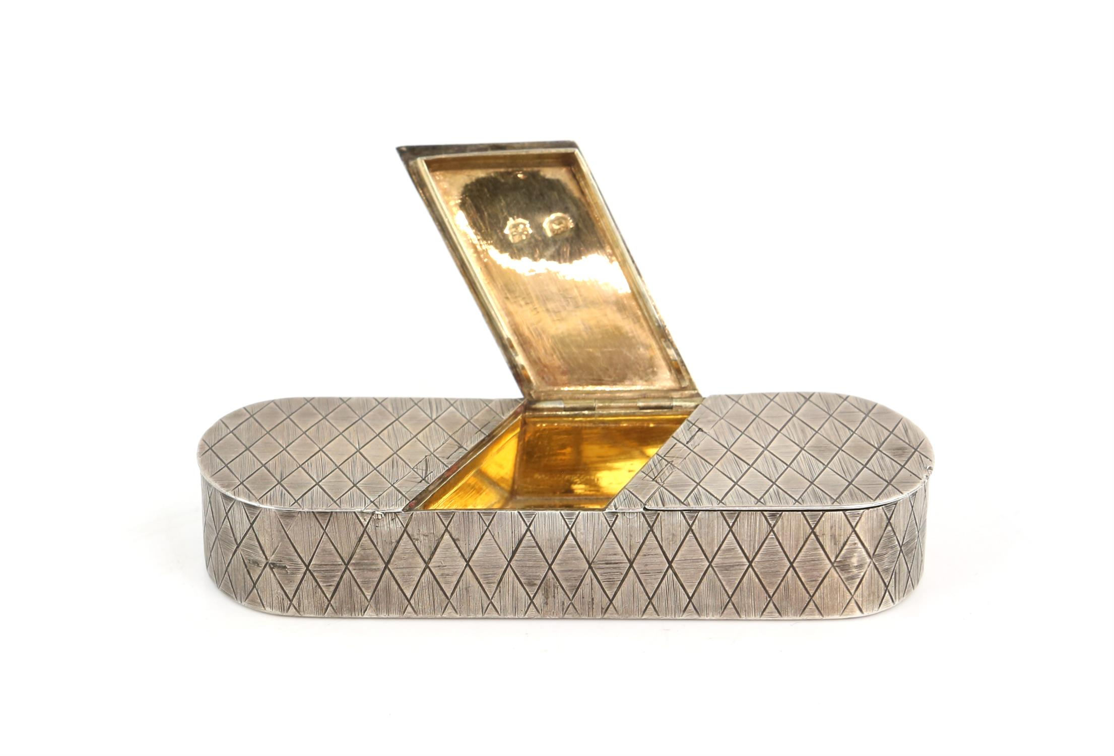 George III silver triple oval snuff box by Thomas Phipps & Edward Robinson, with diamond patterned - Image 2 of 7