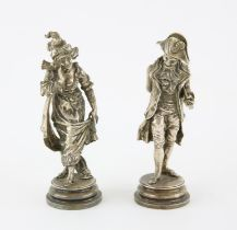 After Antonio Pandiani, two silver plated statuettes to include Divina Creatura and an 18th century