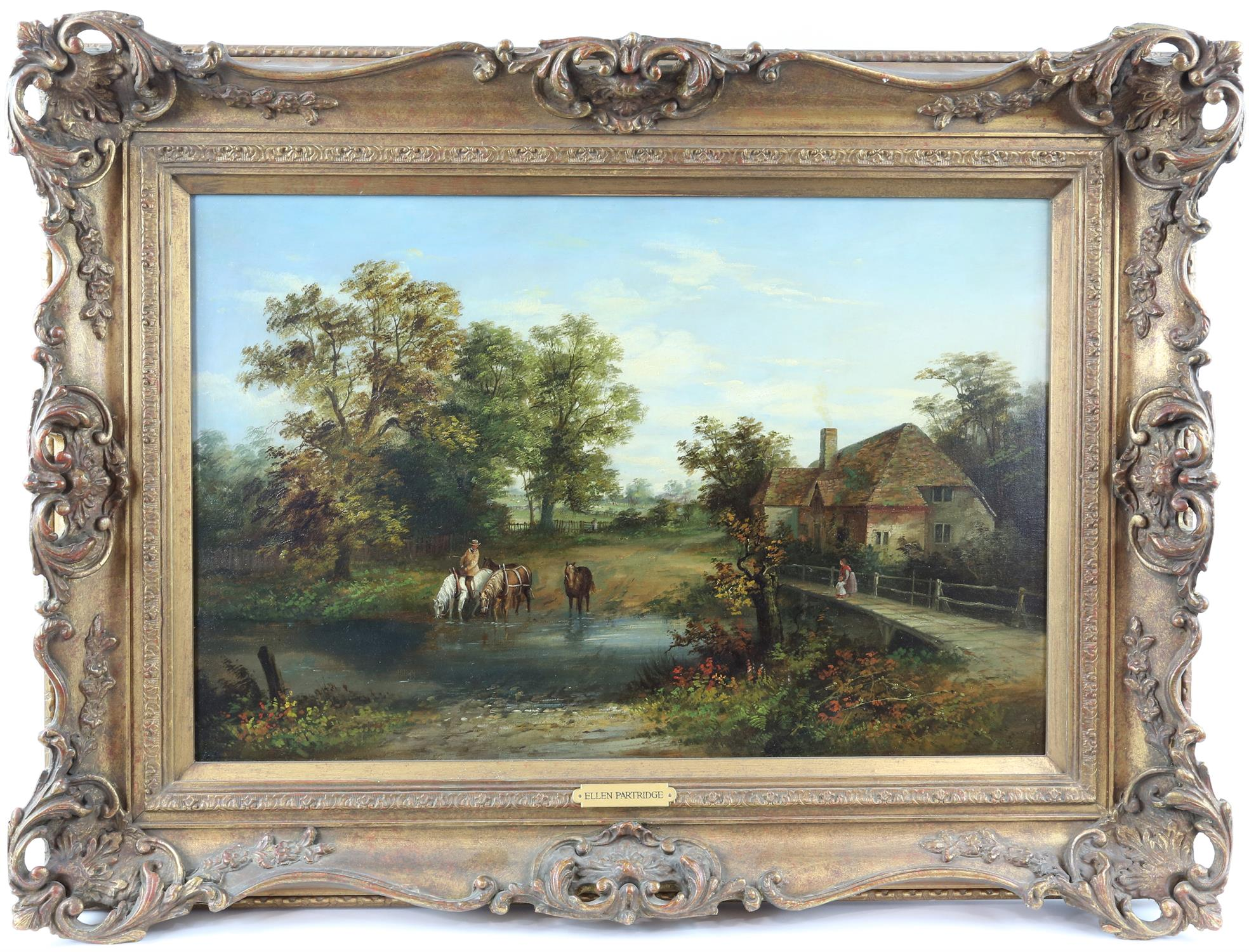 Ellen Partridge, British act. c. 1844 - c.1894, watering horses at a ford, signed, oil on canvas, - Image 2 of 3