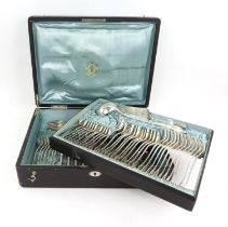 Early 20th century Art-Krupp-Berndorf silver plated canteen of cutlery for twelve with engraved