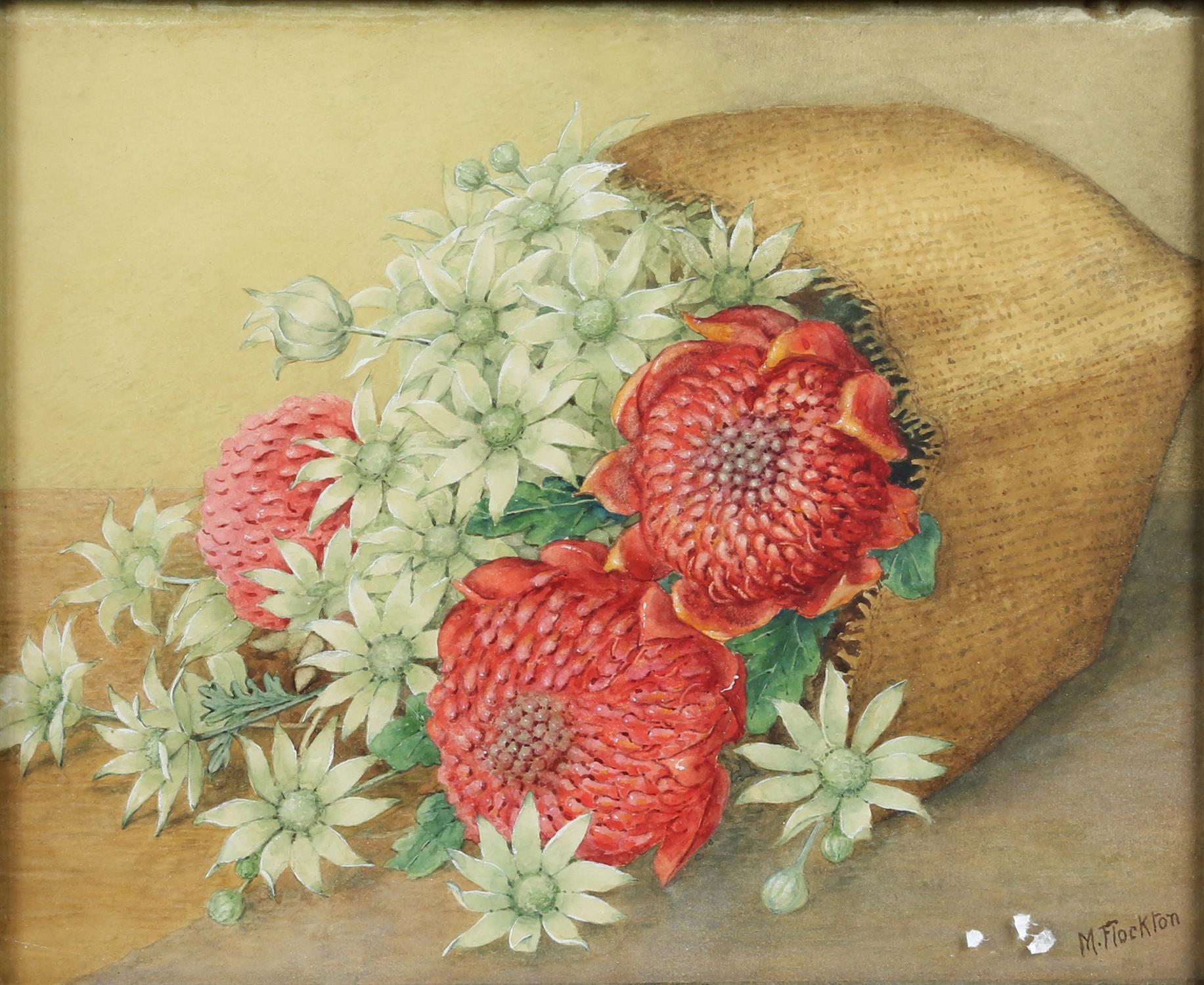 Margaret Flockton (Australian 1861-1953). Still Life of Flowers, inscribed verso 'Warathas and