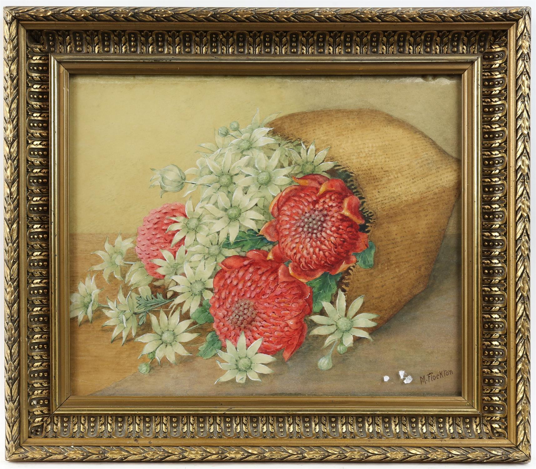 Margaret Flockton (Australian 1861-1953). Still Life of Flowers, inscribed verso 'Warathas and - Image 2 of 3