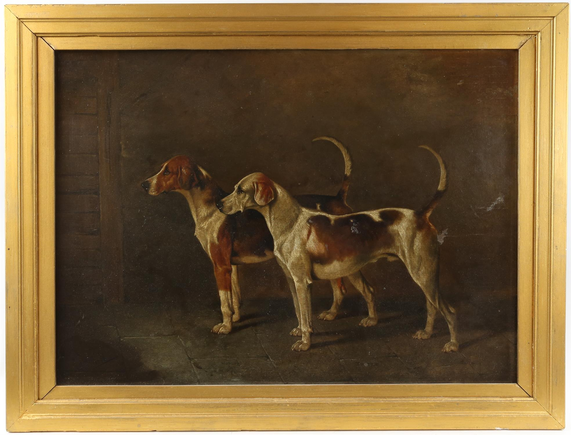 A Wheeler (19th century British), Two hounds, oil on board, signed and dated 1896 lower left, - Image 2 of 5