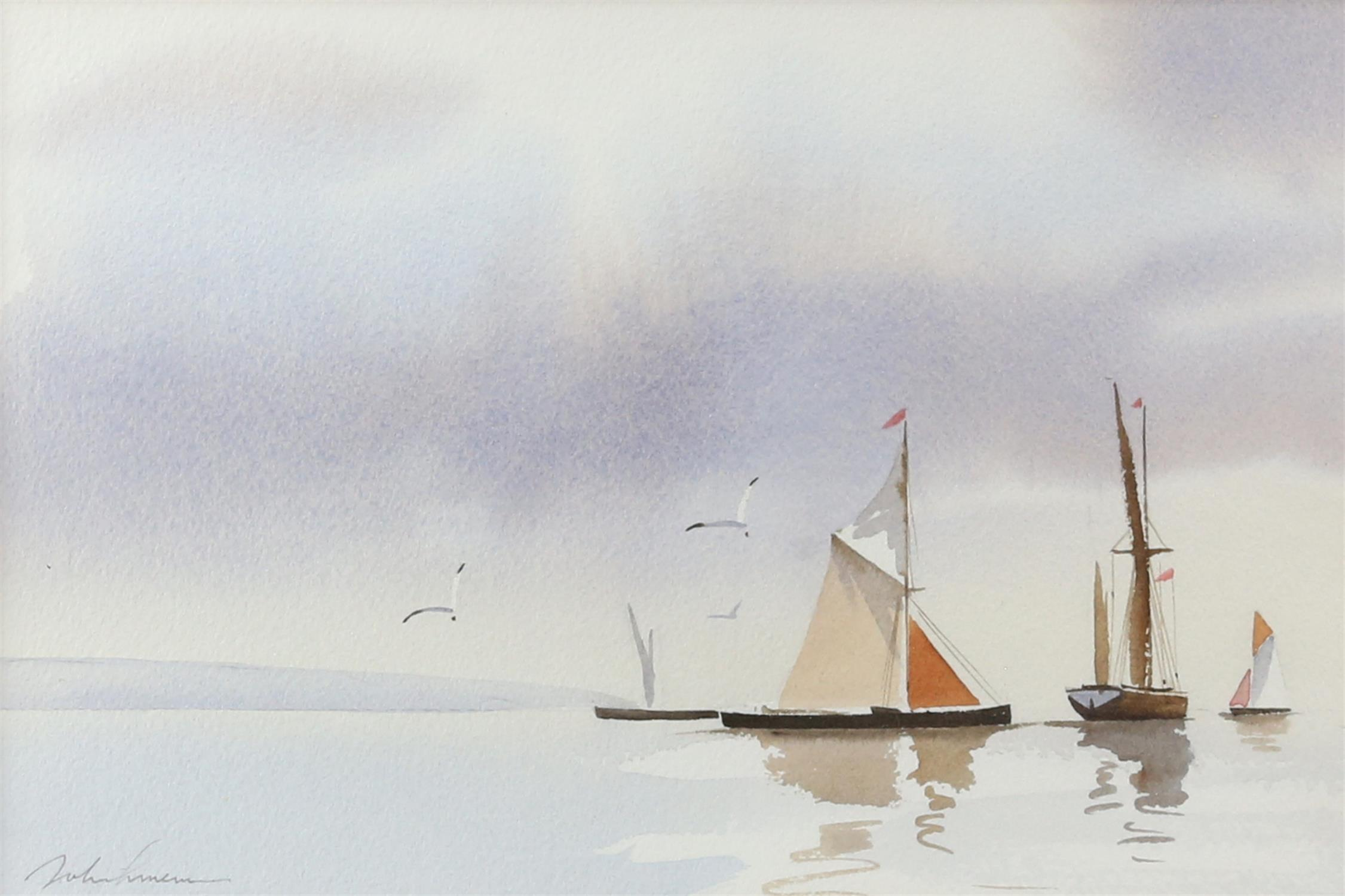 Three contemporary maritime watercolours, yachts at sea, signed indistinctly lower left. - Image 3 of 8