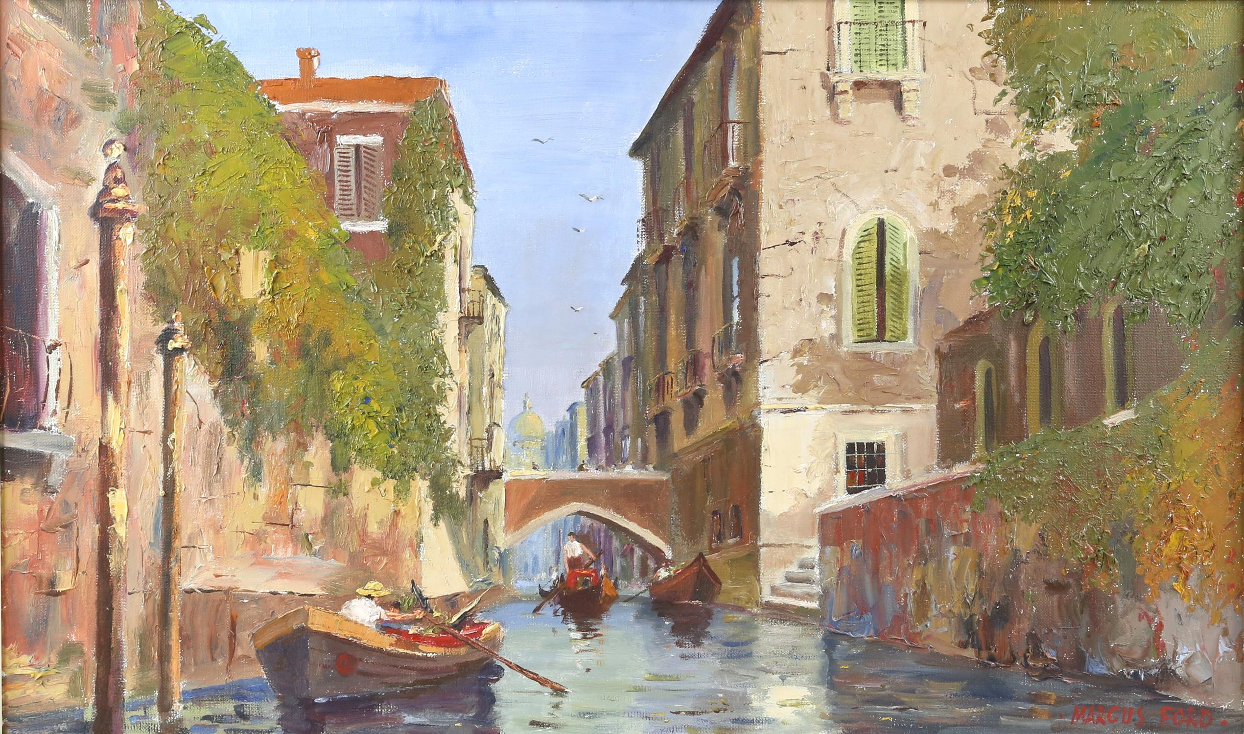 Marcus Ford (British 1914-1989), Venice canal scene, signed, oil on canvas, 44.5 x 74.5cm,