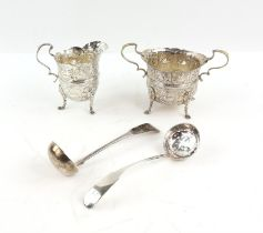 Edward VII sugar bowl with repousse decoration of medieval animals on lion mask and paw feet
