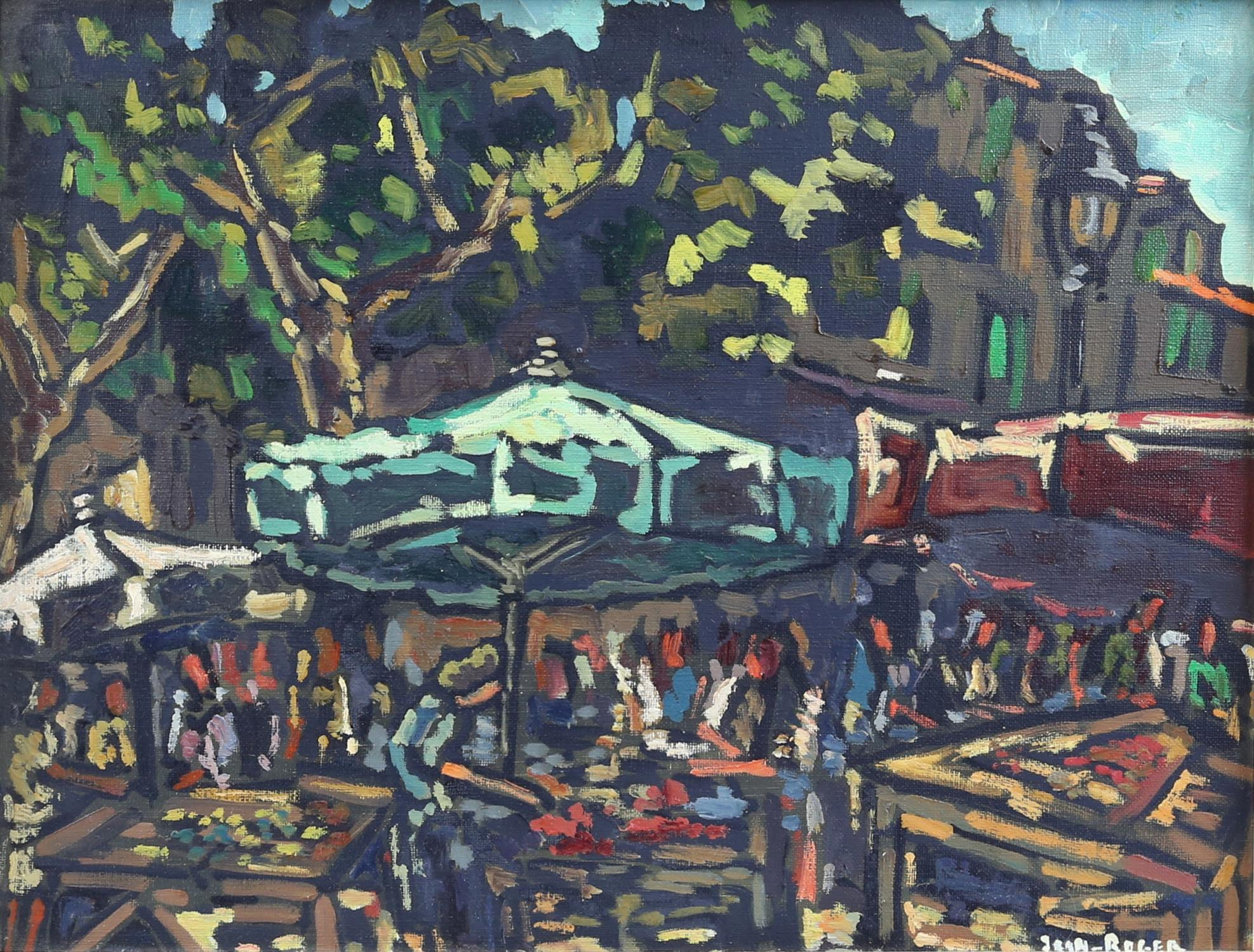 Jean-Roger (European, 1924-2015), continental market scene. Oil on canvas. Signed lower right.