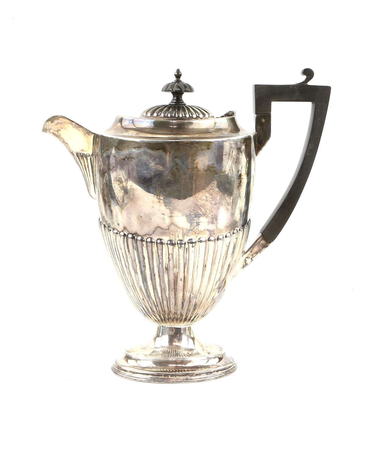 George V half reeded silver four piece tea and coffee service comprising teapot, coffee pot, - Image 2 of 9