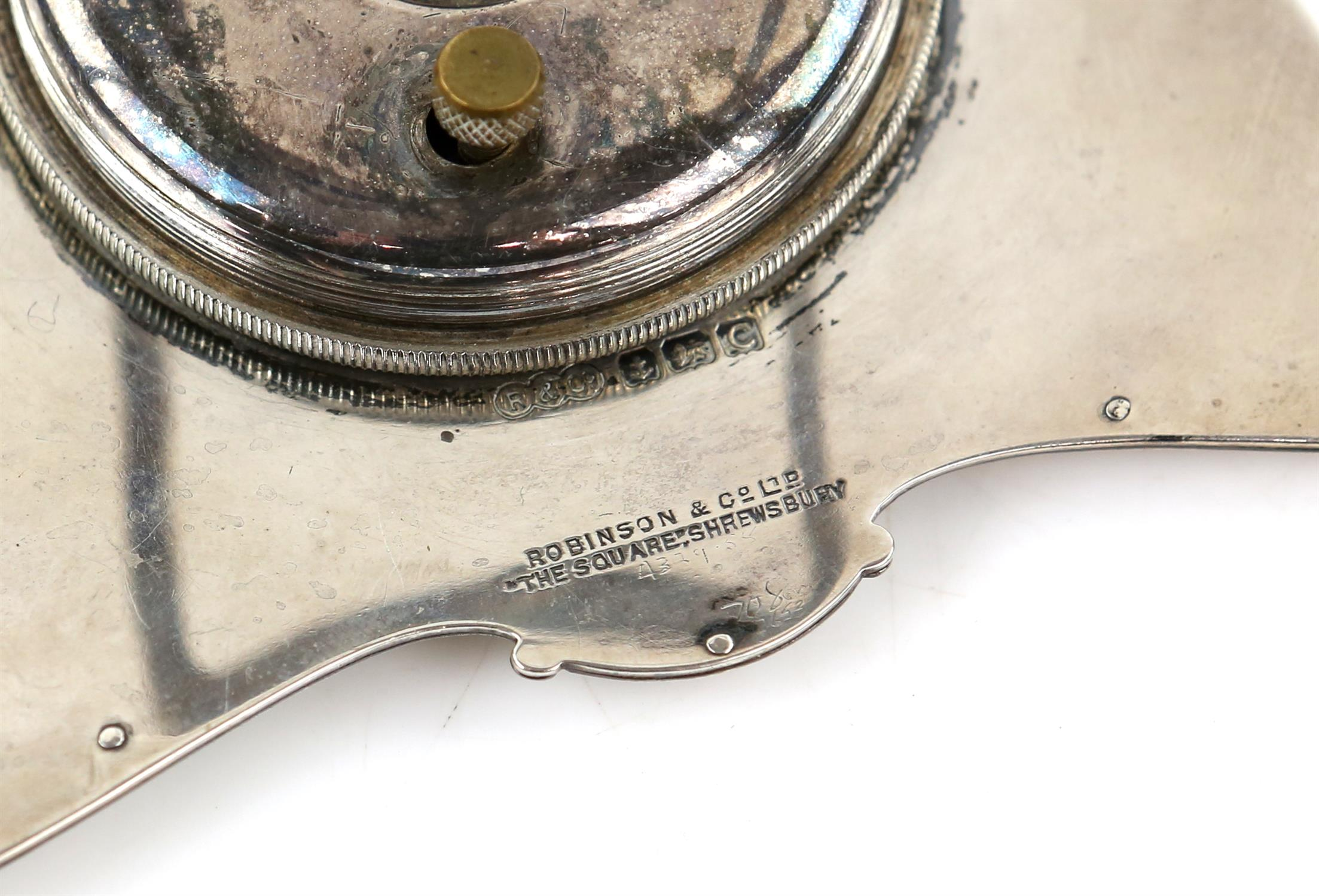 George V engine turned silver strut clock by Robinson & Co.Ltd, Birmingham 1927 H 8cm Sold on - Image 3 of 3