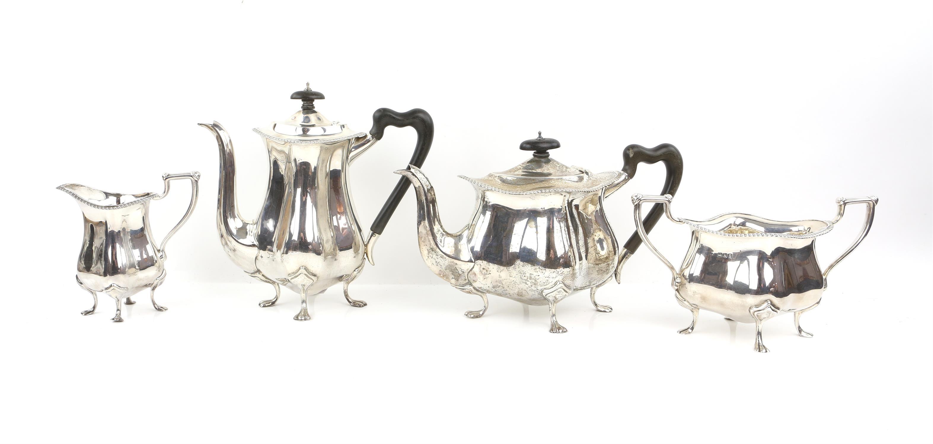 Four piece silver tea and coffee service of fluted diamond shape comprising Coffee Pot, Tea Pot,