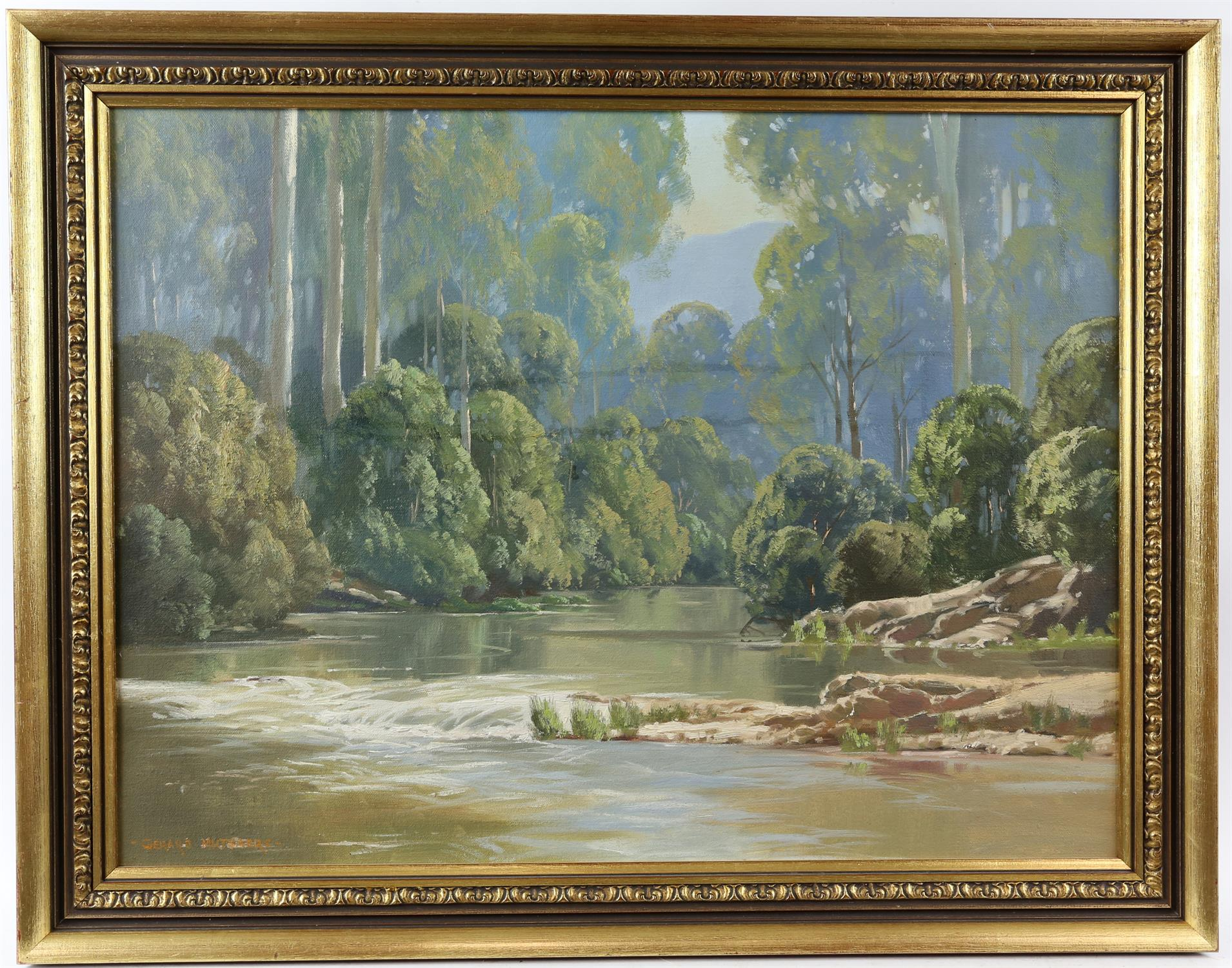 Gerard Mutsaers (Australian b. 1947), 'Morning Light, Yarra River, Warburton', signed, oil on board, - Image 2 of 4