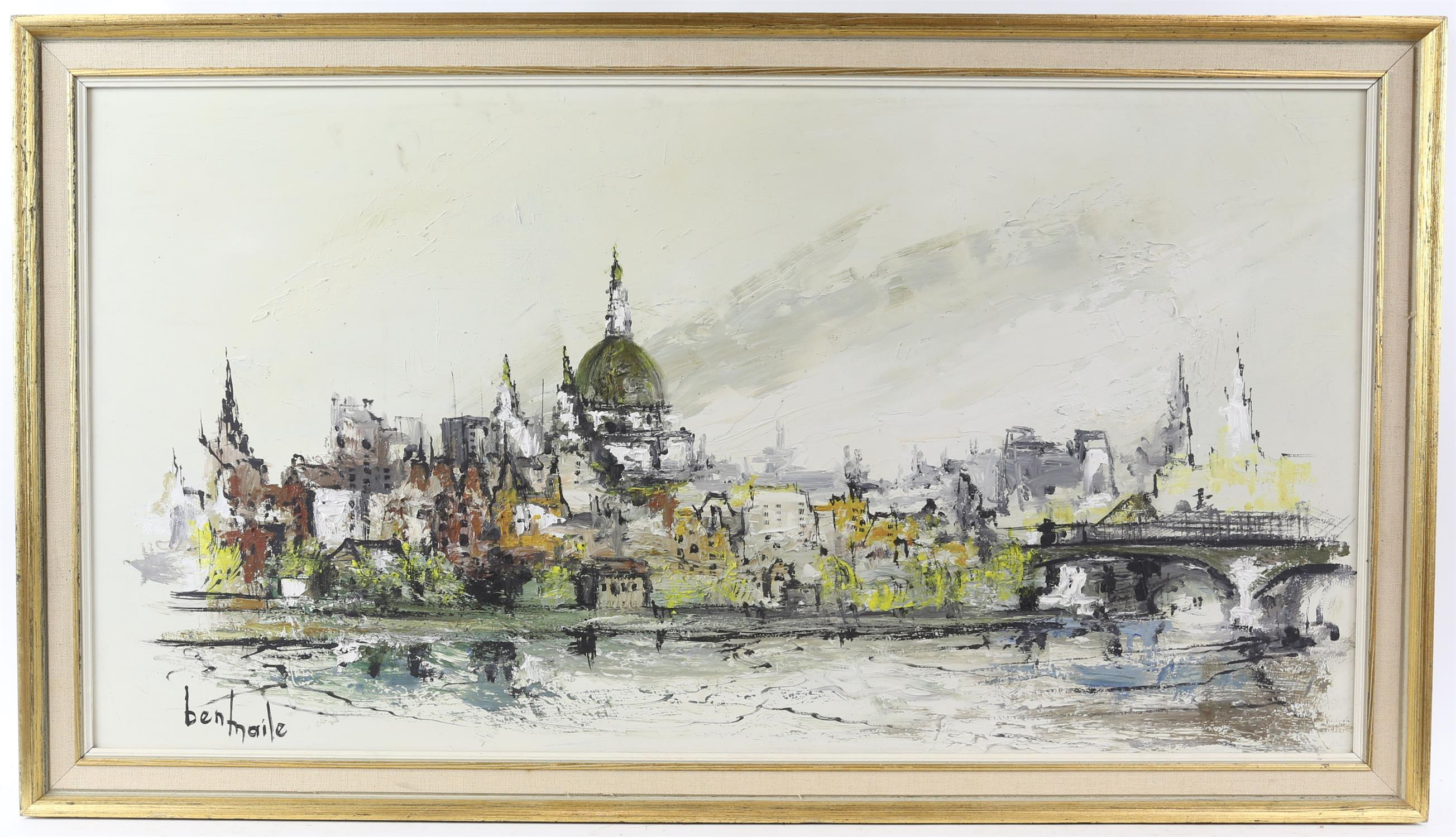 Ben Maile (British 1922-2017), 'St. Pauls from the Thames', signed, oil on board, 39 x 74.5cm, - Image 2 of 4