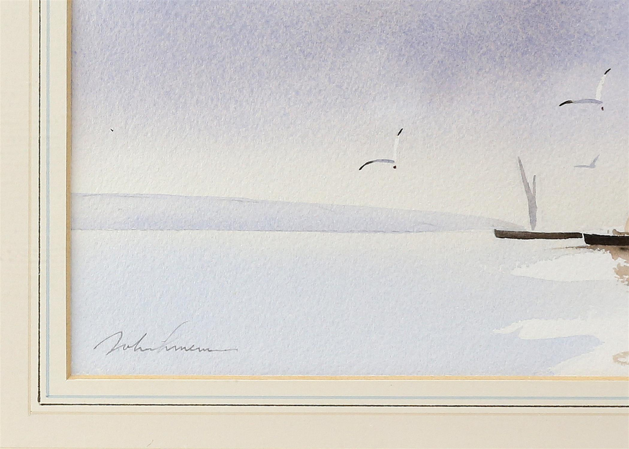 Three contemporary maritime watercolours, yachts at sea, signed indistinctly lower left. - Image 8 of 8