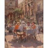 § Dennis Syrett (Contemporary British, b. 1934), 'Coffee Time, Valetta' (1991). Oil on canvas.
