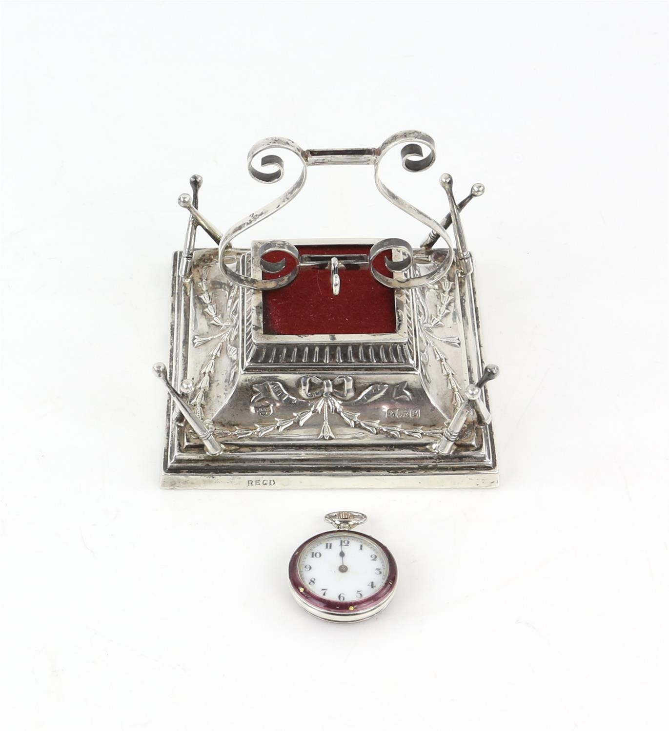 Art Nouveau combination silver lyre form ring tree, jewellery holder, watch stand and pin cushion