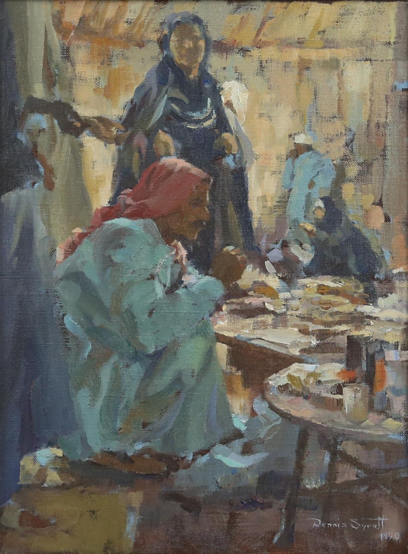 § Dennis Syrett (British Contemporary, b. 1934), North African street scene (1990). Oil on canvas.