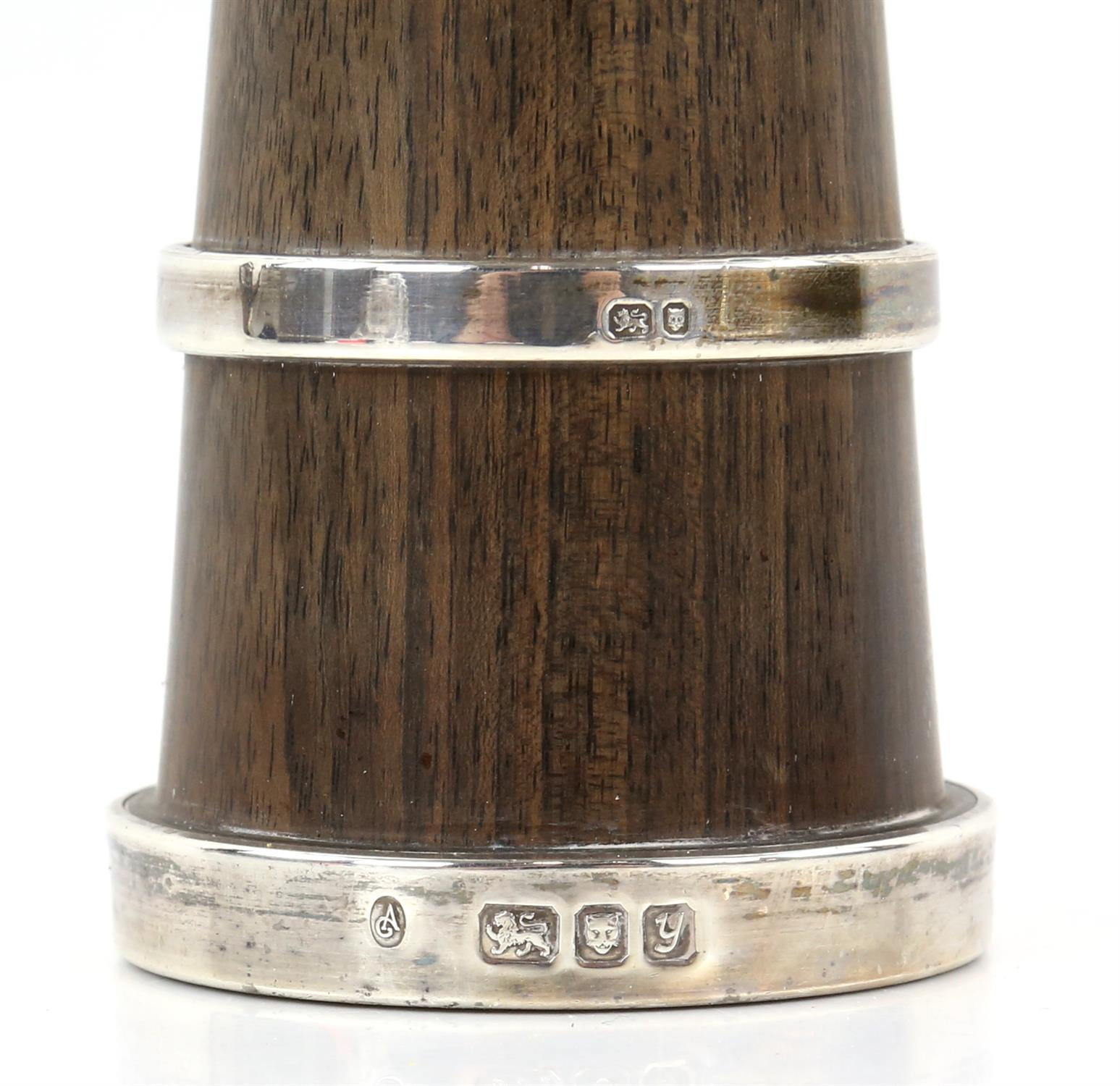 Four very similar walnut and silver mounted pepper grinders (two top screws although present - Image 2 of 5