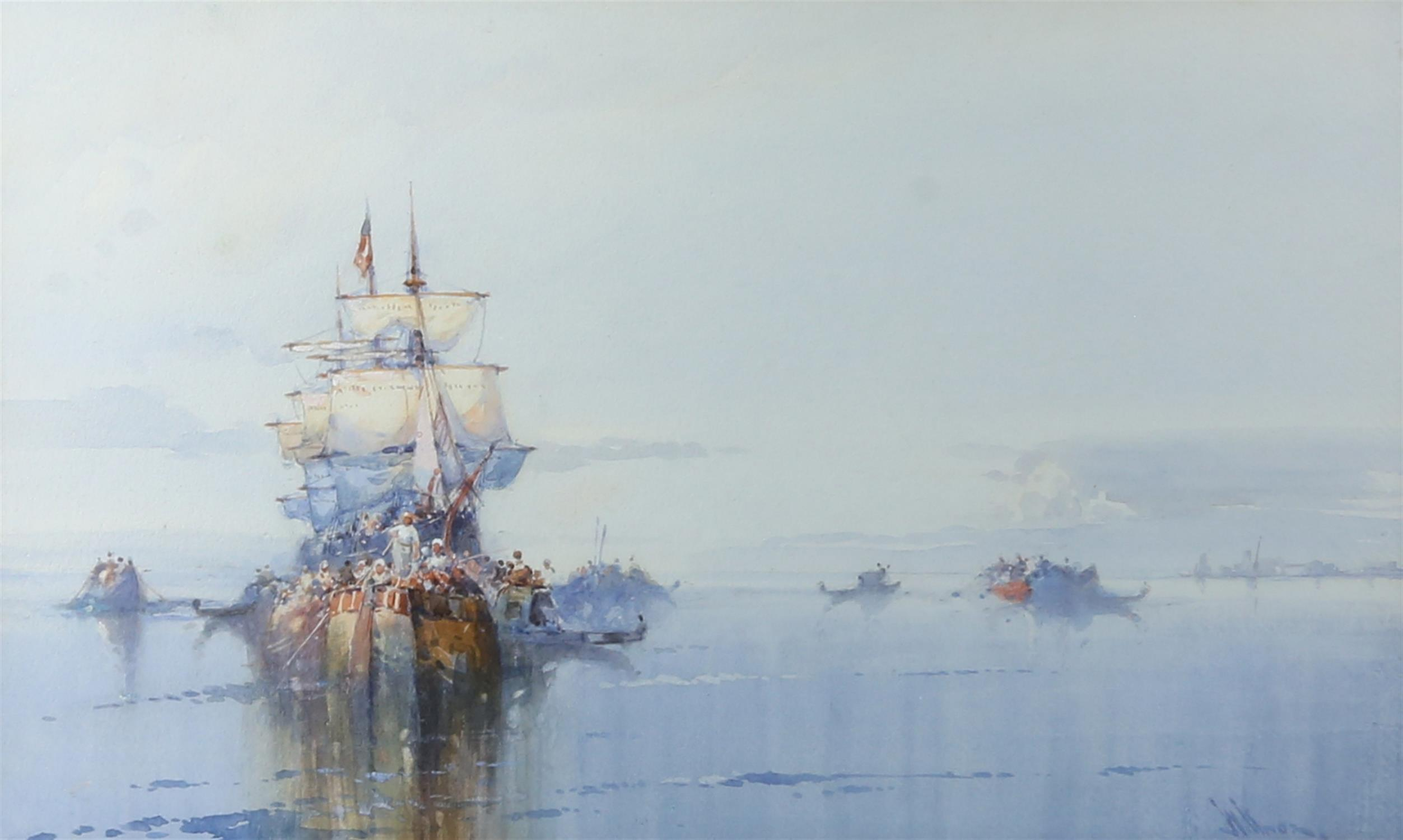 """Wilfred Knox (1884-1966) """"Off Venice"""" watercolour, signed, 29cm x 48cm, """"Dutch fishing boat at"""