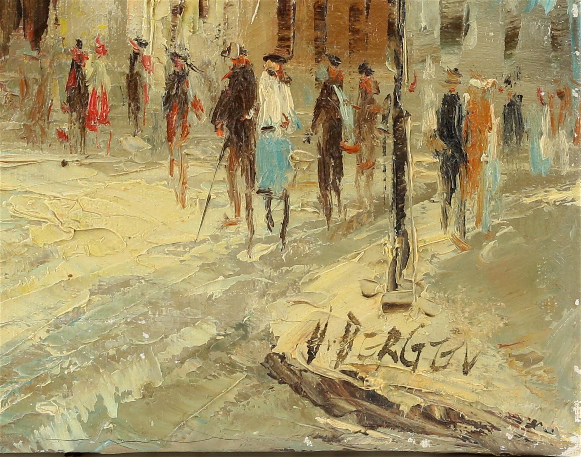 V. Bergen (20th century Continental school), pair of small Parisian street scene, oil on canvas, - Image 6 of 7