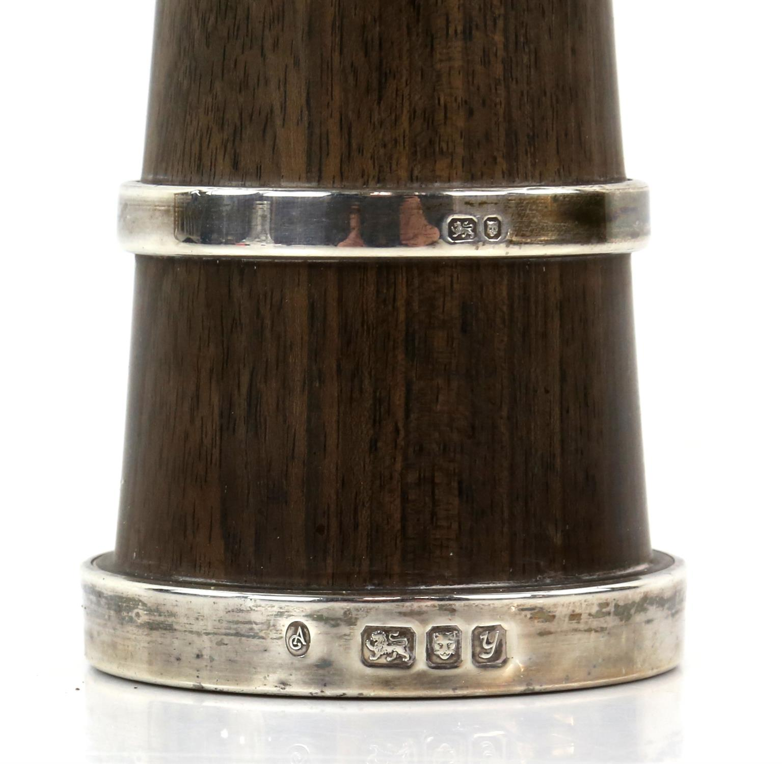 Four very similar walnut and silver mounted pepper grinders (two top screws although present - Image 5 of 5