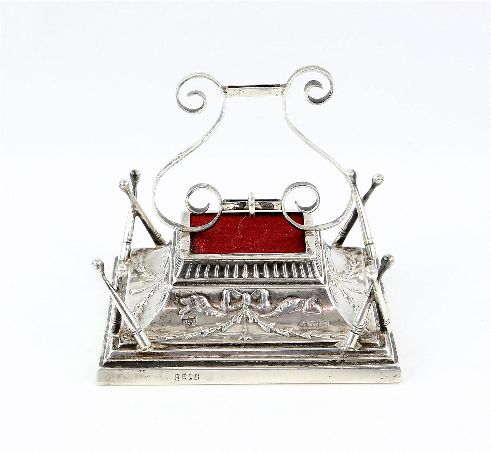 Art Nouveau combination silver lyre form ring tree, jewellery holder, watch stand and pin cushion - Image 2 of 6